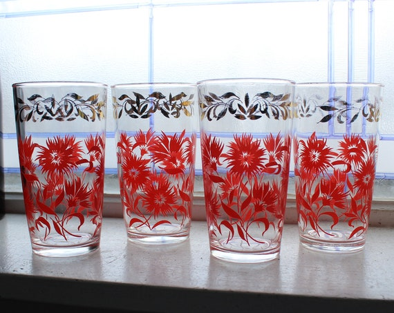 4 Mid Century Glass Tumblers Red Flowers Gold Leaves Vintage 1950s