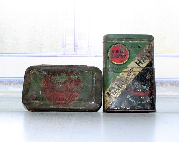 2 Antique Tobacco Tins Lucky Strike and Half and Half 1920s