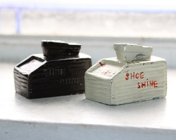Vintage Salt and Pepper Shakers Hand Painted Shoe Shine Kits