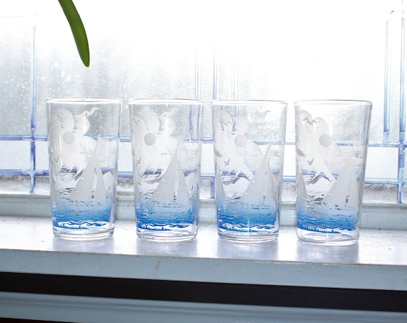4 Vintage Tumblers Mid Century Federal Glass Sailboats Blue and White