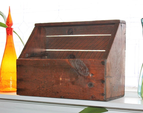 Antique Wood Box with Top Shelf Primitive Farmhouse Decor