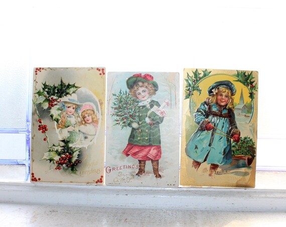 3 Antique Christmas Postcards Victorian Children Circa 1900-10s