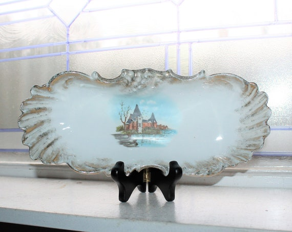 Antique Victorian Celery Dish Candy Dish with Country Manor Scene