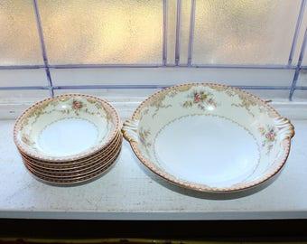 VINTAGE Homer Laughlin Berry Bowl Dessert Bowl Vintage Kitchen Hemlick Pattern Dark Red Rim Farmhouse Style