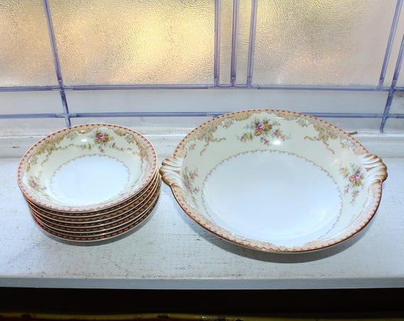Vintage Meito China Serving Bowl & 7 Dessert Berry Bowls Derby Pattern