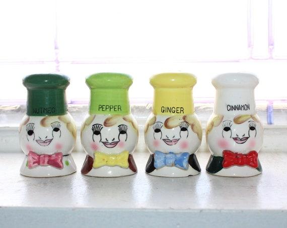 4 Vintage Spice Shakers 1950s Ceramic Chefs