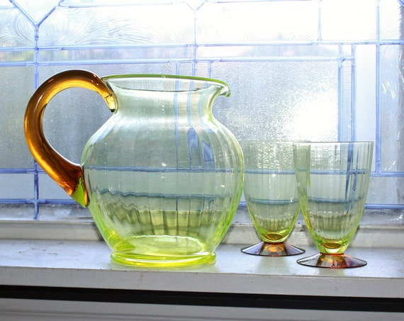 Vintage Watermelon Vaseline Glass Pitcher with 2 Footed Tumblers