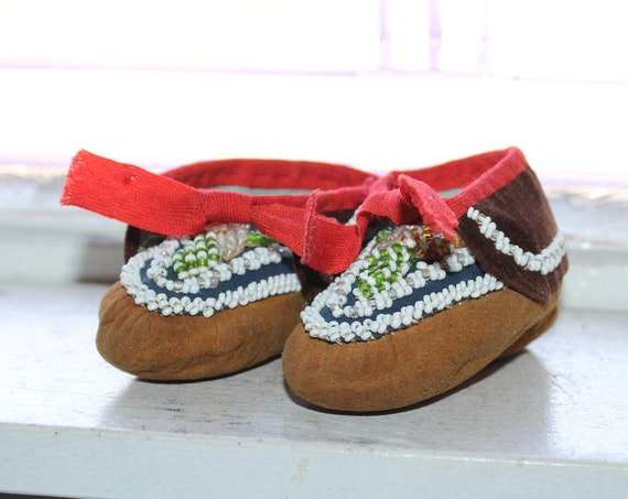 Vintage Beaded Child's Leather Moccasins