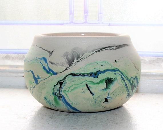Vintage Nemadji Pottery Vase Bowl Blue Green Swirls Southwestern Decor