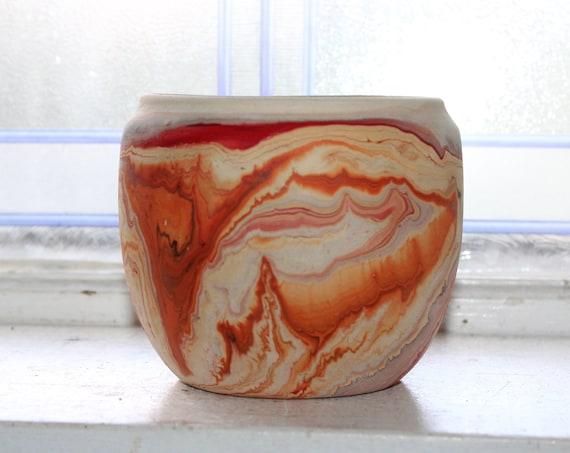 Vintage Nemadji Pottery Vase 4 Inch Swirl Pottery