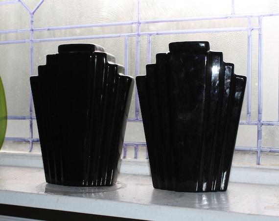 Vintage Art Deco Black Pyramid Vases Pair 1920s