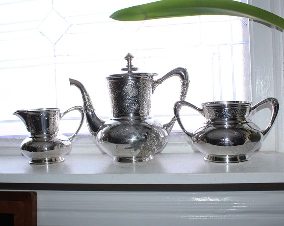 Antique Silverplate Tea Set Insect & Lizard Decoration Derby Silver Co