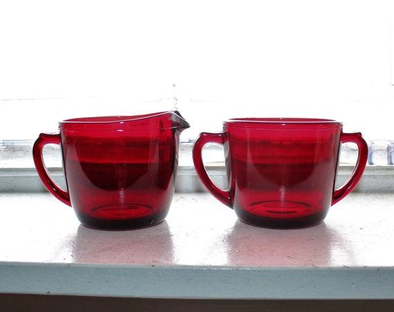 Vintage Royal Ruby Sugar and Creamer Anchor Hocking Red Glass