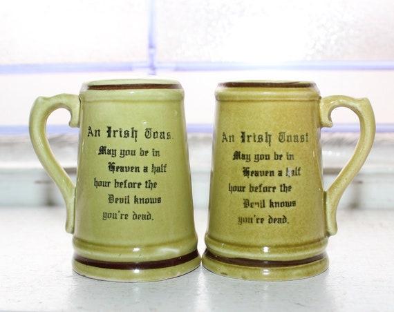 Vintage Irish Toast Salt and Pepper Shakers Beer Mugs 1950s Kitsch