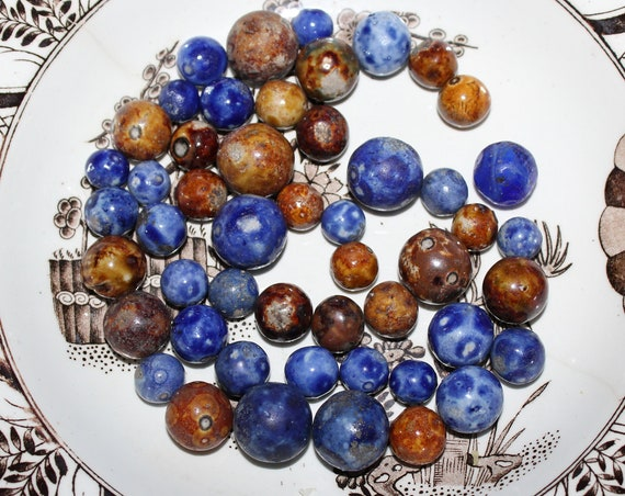 50 Antique Bennington Pottery Marbles Brown and Blue Circa Late 1800s