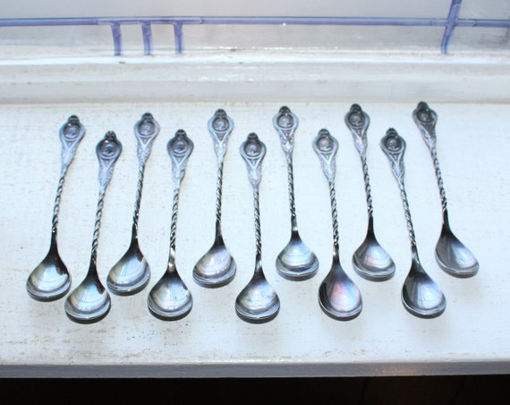 11 Antique Demitasse Spoons Spiral Handled Roman Cameo Derby Silver Co