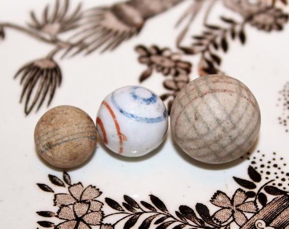 3 Antique China & Clay Marbles Hand Made Hand Painted Circa 1800s