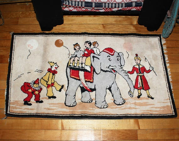 Vintage Mid Century Child's Room Rug Circus Elephant and Clowns 1950s