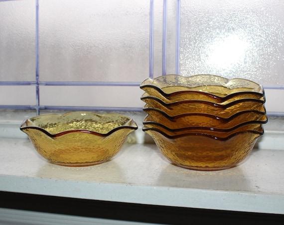 6 Vintage Textured Amber Glass Cereal Bowls Wavy Pie Crimp Rim
