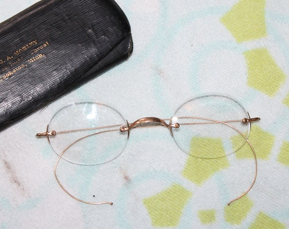 Antique Eyeglasses with Case