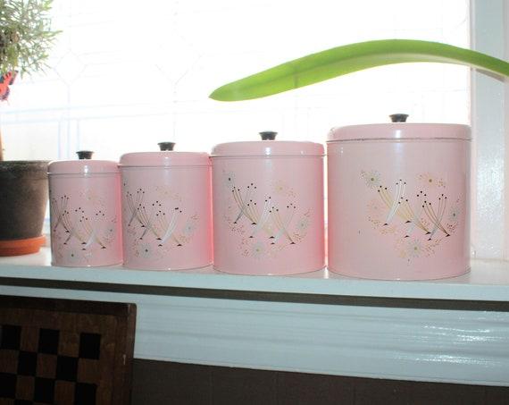 Mid Century Canister Set Pink Atomic Starburst 1950s