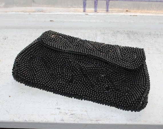 Vintage Beaded Purse Clutch Black Mid Century Evening Bag