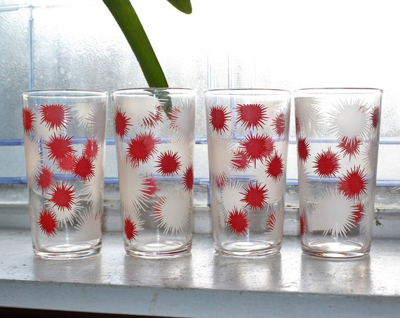 4 Mid Century Glass Tumblers Red & White Atomic Fireworks