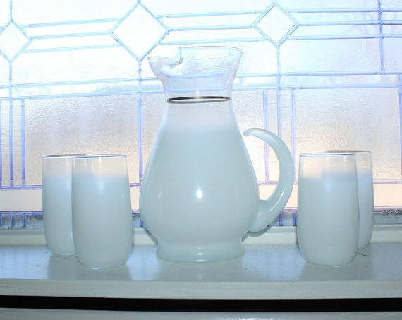 Mid Century Blendo Glass Pitcher and 4 Tumblers White Vintage 1950s