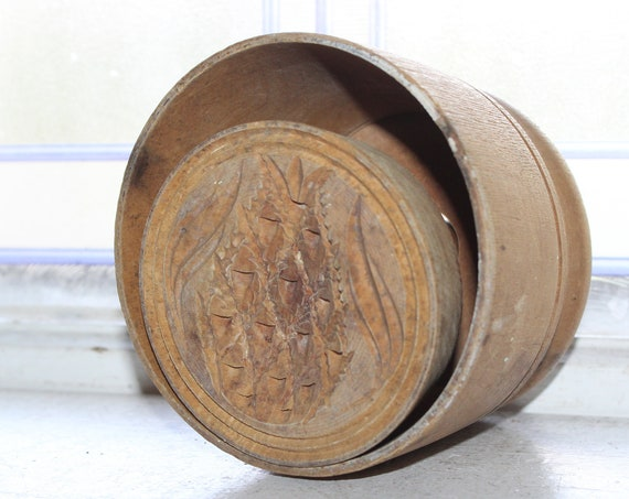 Antique Wooden Butter Mold with Pineapple Rustic Farmhouse Decor