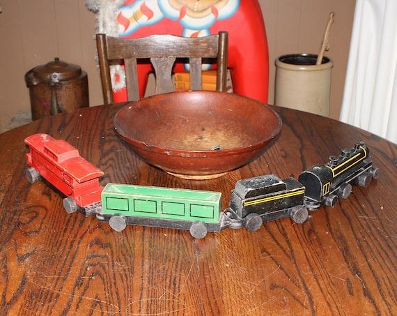 Large Vintage Wooden Toy Train Set 1940s