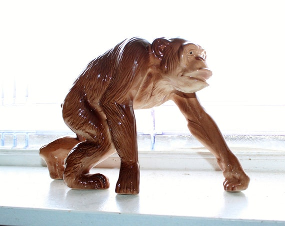 Large Melba Ware Chimpanzee Monkee Figurine England