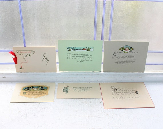 6 Antique Victorian Christmas Note Cards Unused Circa 1910s