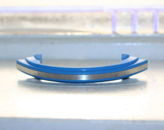 Art Deco Cabinet Door or Drawer Handle Blue and Chrome 1920s