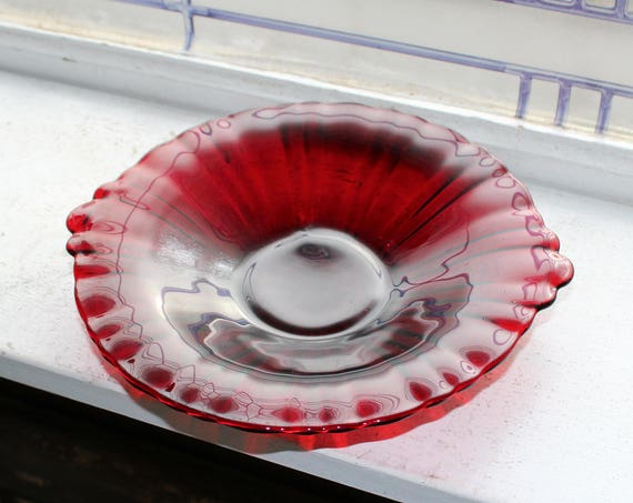Royal Ruby Red Glass Old Cafe Candy Dish Bowl Vintage 1930s