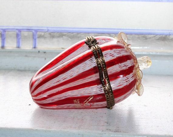 Vintage Murano Glass Trinket Box Red and White Latticino