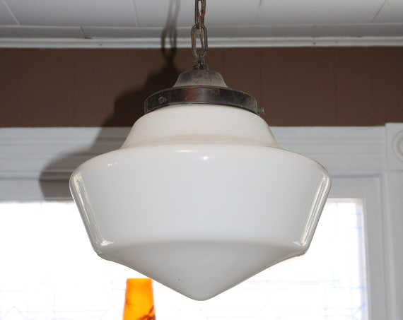 Vintage Schoolhouse Light Fixture Pendant Lamp Milk Glass Shade 1920s