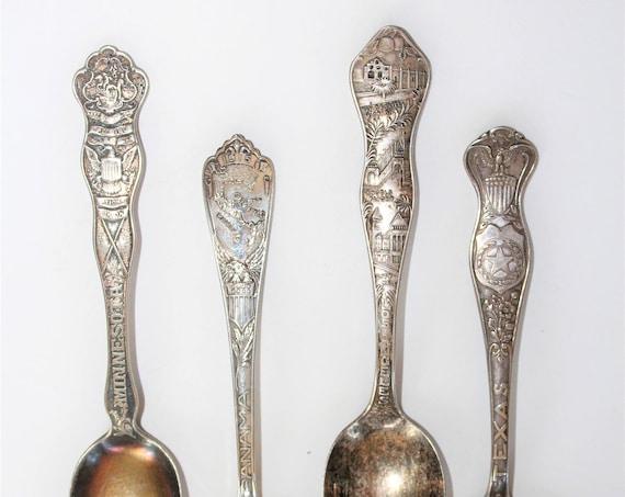 4 Collector Spoons Silverplate Los Angeles Minnesota Texas Panama