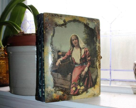 Antique Photo Album Celluloid & Velvet Cover For Cabinet Cards 1800s