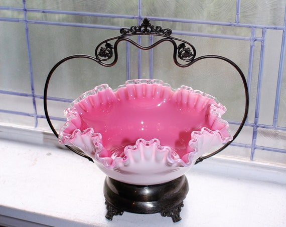 Victorian Pink Bride's Basket with Silverplate Stand Antique 1800s