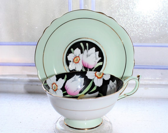 Paragon Tea Cup and Saucer Green and Black Vintage Bone China