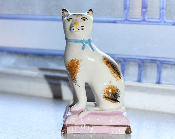 Vintage Staffordshire Pottery Style Cat On Pillow Figurine