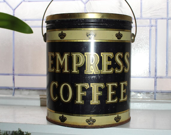 Large Antique Empress Coffee Tin 5 Lb Farmhouse Decor
