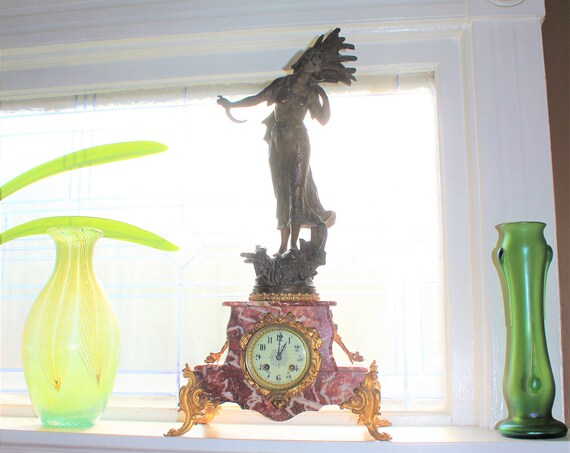Antique Figural Mantel Clock Emil Fuchs Statue The Gleaner Rouge Marble Base