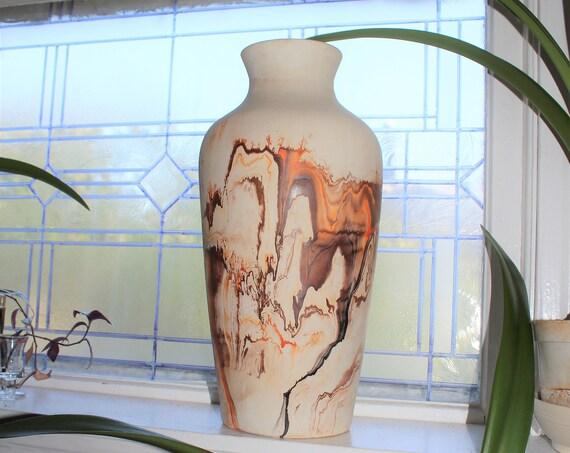 """Huge 18"""" Nemadji Pottery Floor Vase Vintage Umbrella Stand"""