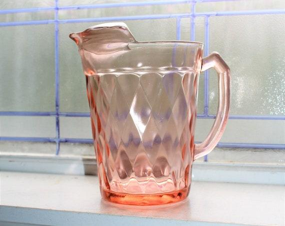 Pink Depression Glass Pitcher Diamond Optic Hazel Atlas 1930s