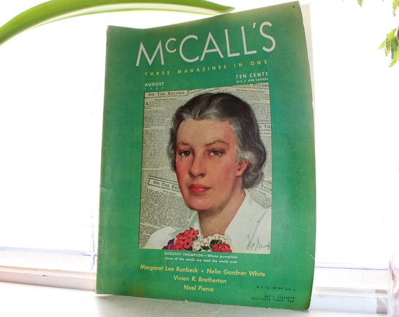 1937 McCall's Magazine August Issue Vintage Fashion and Advertising