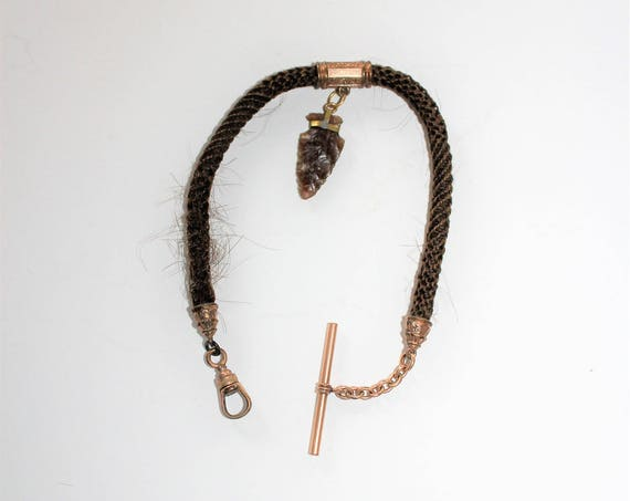 Antique Victorian Pocket Watch Chain Woven Human Hair & Arrowhead