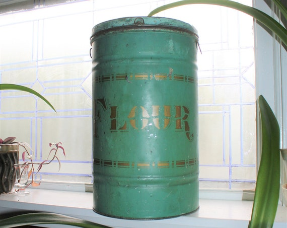 "Large Antique Green and Gold Tin Flour Bin 16"" Canister"