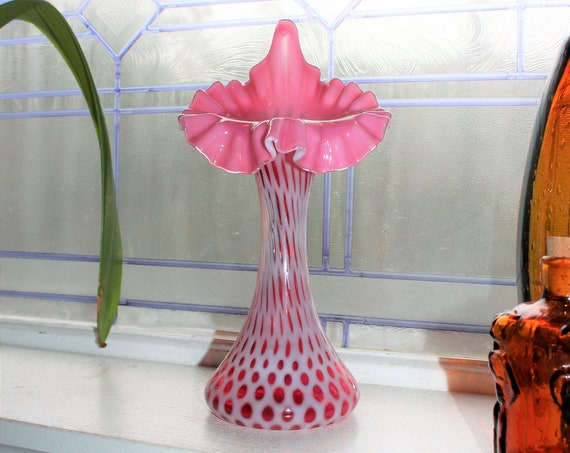 Fenton Cranberry Opalescent Glass Fine Dot Jack in the Pulpit Vase 11""