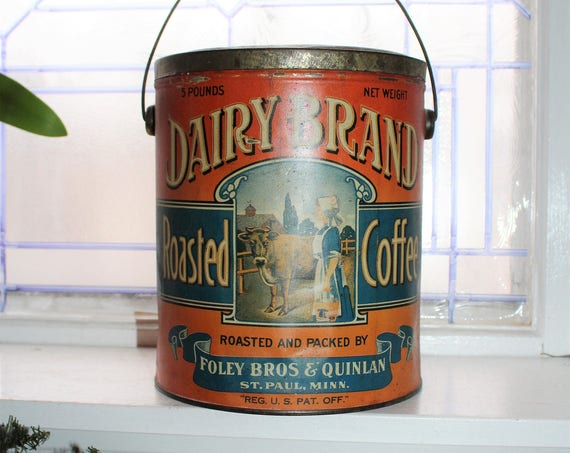 Large Antique Dairy Brand Coffee Tin Cow Milk Maid Scene Rare 5 Lb Can